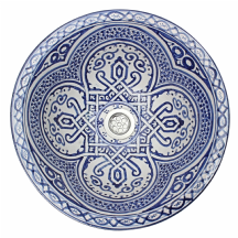 Moroccan Washbasin Sink Ceramic Wash Basin Hand Painted Blue 41cm  16.1'' Free Waste Included SW615